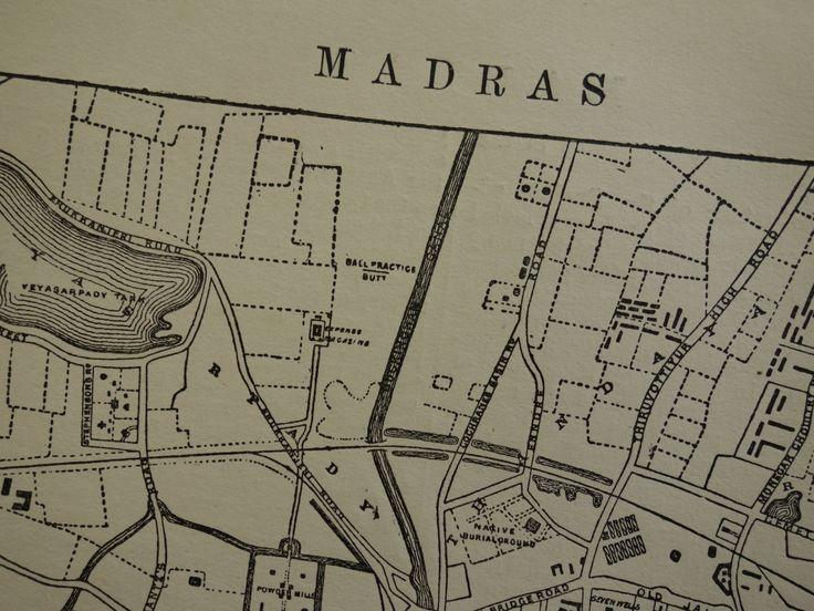 "Antique map of Chennai India - original 1883 old print city plan Madras Tamil Nadu - oude plattegrond van Stadtplan von - 8x11"" (21x27c) by VintageOldMaps on Etsy"