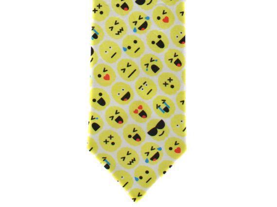 Skinny Tie - Brain Emoji - Yellow by handmadephd. Explore more products on http://handmadephd.etsy.com