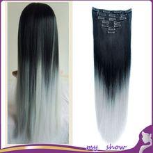 """24 """"150g 7 Pcs/ensemble Dip Dye Ombre Gris Cheveux Longue Ligne Droite Extension de Cheveux Synthétiques Clip Dans Postiche Noir à Ruban Gris Cheveux(China (Mainland))"""