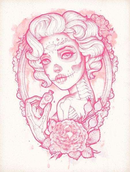 ❁☠❀ Dia de Los Muertos  ❀☠❁ Drink Me Art Print
