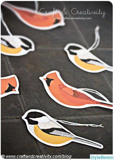 julpynt,fåglar,pyssel,papperspyssel,småfåglar