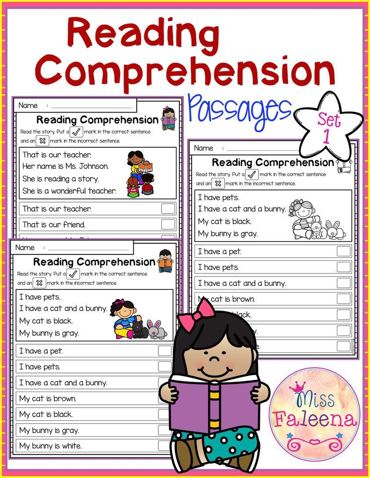 This Product is suitable for Kindergarten students or beginning readers. There are 20 pages of reading comprehension passages. Each page contains 3 to 4 sentences passage and a related picture. Children have to put a check mark in the correct sentence and an x mark in the incorrect sentence. This set also available in black and white version.  Kindergarten | Kindergarten Worksheets | First Grade | First Grade Worksheets | Reading| Reading Comprehension passage | Morning Work | Worksheets