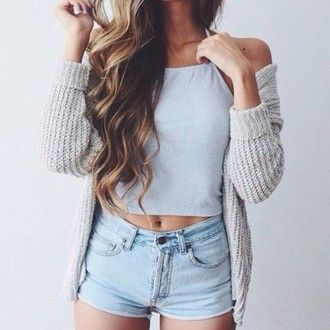 shorts denim cute outfit cropped crop tops blue white blue top top high wasted jean shorts denim shorts cute outfits outfit idea cropped shirt light blue top tank top