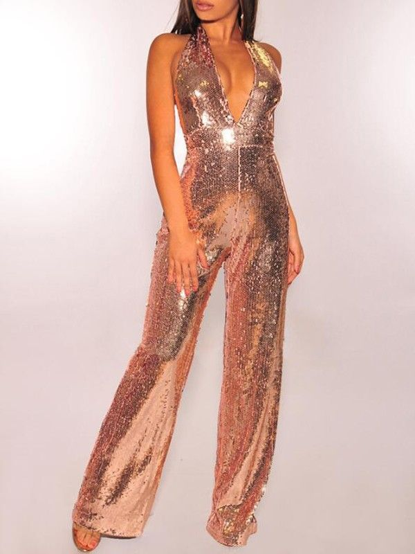 Womens Sequin Deep V Neck Long Sleeve Cut Out Backless Mermaid Clubwear Romper Jumpsuit