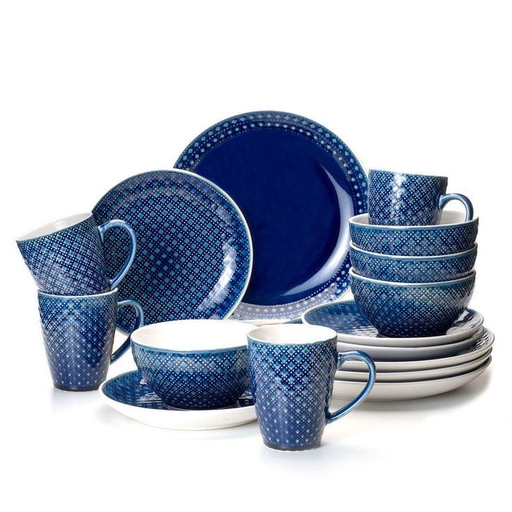 Palma 16 Piece Dinnerware Set in Blue by Euro Ceramica #EuroCeramica