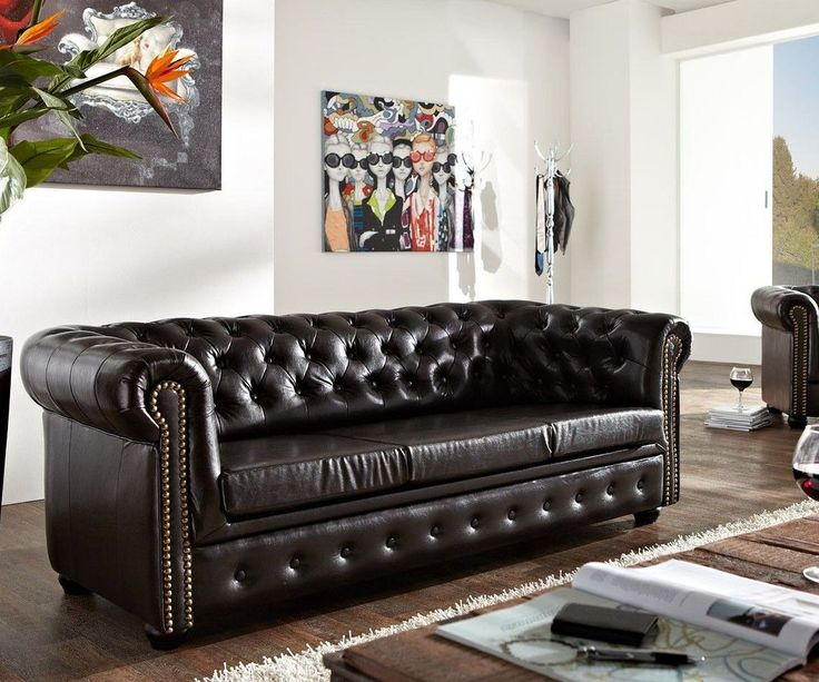 Ideal DELIFE Sofa Chesterfield x Antikbraun abgesteppt Sitzer Chesterfields