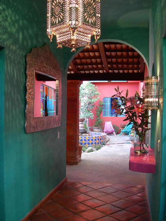 Mexican Colors Turquoise Pink With Silver And Ornate Tile Touches And Terra Cotta Patio You Can Create This Look For Your Outdoor Room