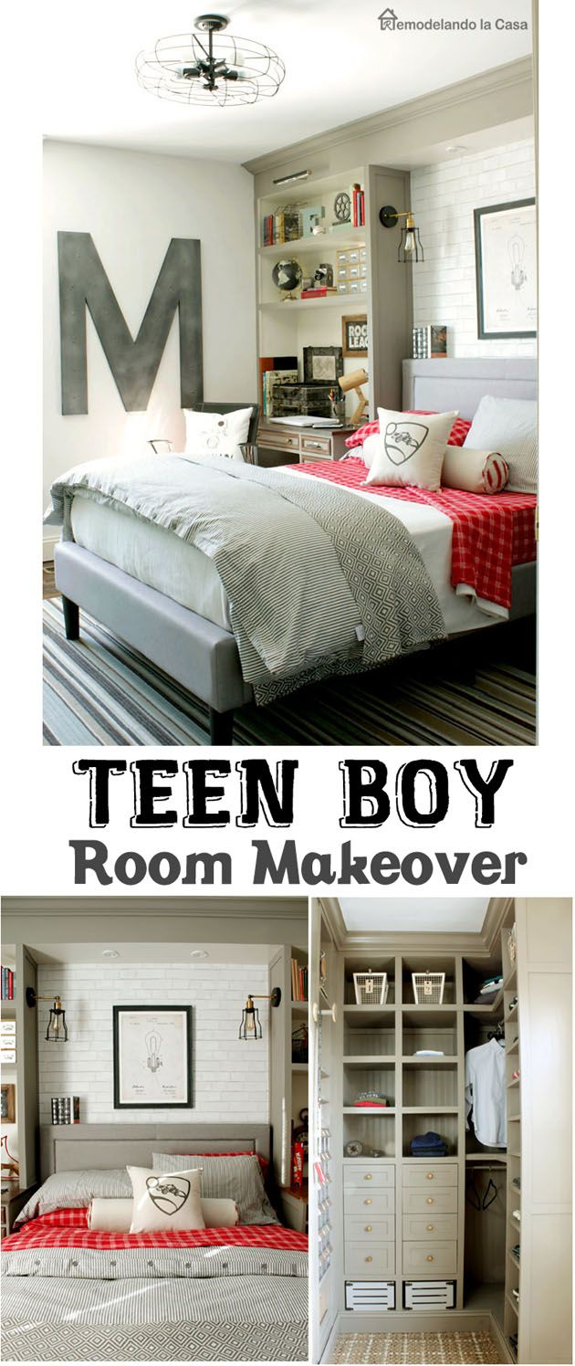 A teen boyu0027s room is transformed with