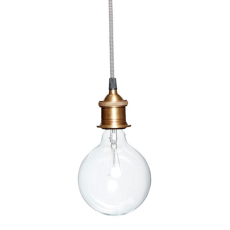 Lampe i messing med ledning fra Hubsch - stort udvalg i loftslamper - Brøndum Interiør