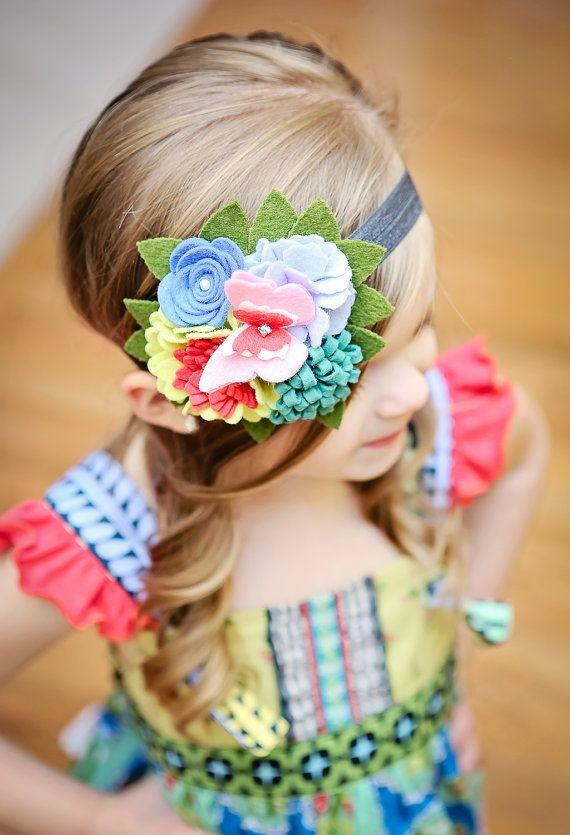 M2M Matilda Jane - Cluster Felt Flower Headband- Butterfly- Felt Flower Headband-Toddler Headband - Love Bug Knot Top - Wonderful Parade