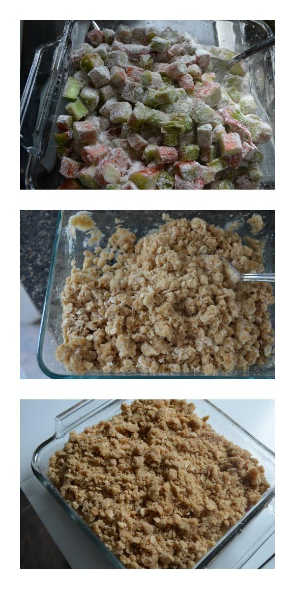 Classic Rhubarb Crisp Recipe Process - going to reduce the sugar on the rhubarb next time 'cuz it's very rich