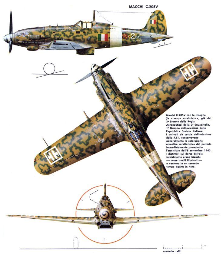 """MACCHI MC 205 """"Veltro"""" ANR (Aeronautica Nazionale Repubblicana) 1943"""