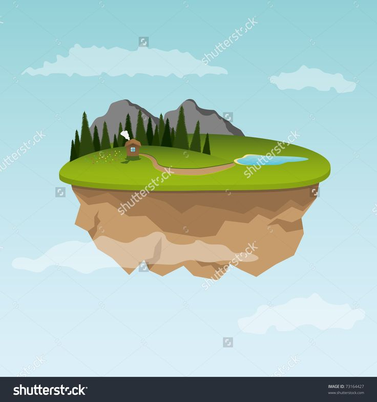 Floating Island With Small House. Vector Illustration - 73164427 : Shutterstock