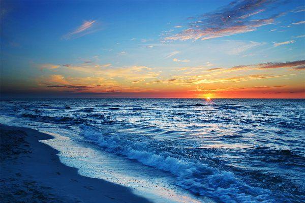 Sunset Beach Blue Ocean Seashore By Creativeland On Creativemarket Seascape Photography Beach Landscape Art Ocean Images