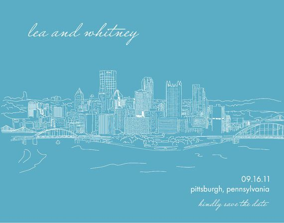 Custom city skyline for save the date poster by TypeandLovePaperie