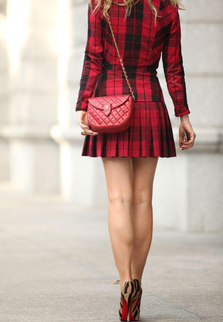 Pattern Mix via BrooklynBlonde.com / @brooklynblonde  Dress: DKNY   Shoes: Christian Louboutin 'So Kate'   Bag: Vintage Chanel   Lipstick: MAC Ruby Woo mixed with MAC Red (makes it a bit less matte)