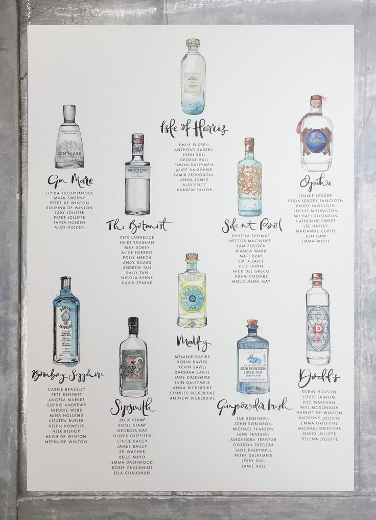 Commission a bespoke gin bottle table plan. Hand painted watercolour gin bottles with pen and ink illustrations.