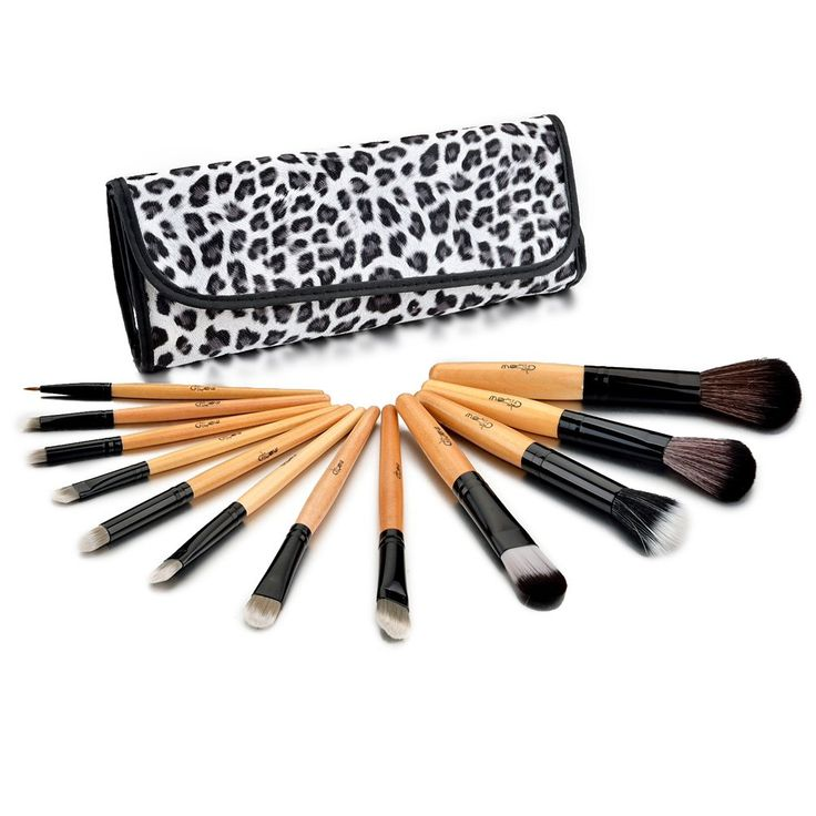 Glow 12 Make up Brushes Set in Leopard Print Case. Ultra smooth and plush brushes at affordable prices. Engineered to provide long lasting performance with wooden handles for extra durability. Comprehensive set and comes with all essential brushes to meet your day to day needs. Comes in exquisite and functional case.