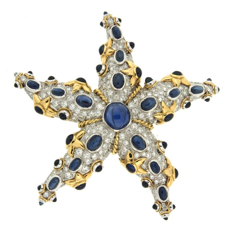 Sapphire and Diamond Starfish Brooch   From a unique collection of vintage brooches at https://www.1stdibs.com/jewelry/brooches/brooches/