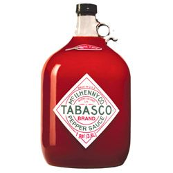 """1 Gallon of TABASCO® Sauce in a glass jug. Nothing says """"I'm a TABASCO® lover"""" like one of these sitting on the kitchen counter. Available in all the flavors you love: Original Red, Green, Chipotle, Garlic, Habanero, Buffalo and SWEET & Spicy. Note: Shelf Life on Gallons are 12 months except for Sweet & Spicy Shelf Life is 6 months."""