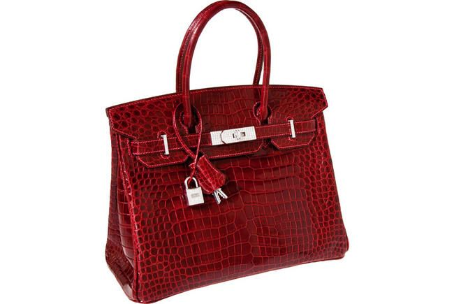 Price: $203,150 A shining red Hermès exceptional collection rouge H Porosus Crocodile 30 cm Birkin bag with solid 18K white gold & diamond hardware fetched handsome $203,150 at Heritage Auctions' sale in Dallas, Texas. Bought by an anonymous collector, the bag is regarded to be an extraordinary example of one of the world's most exceptional handbags