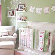 dormitorio bebé verde menta+rosado