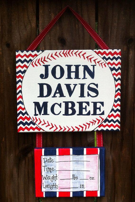Baseball Hospital Door decoration, baby door hanger on Etsy, $30.00