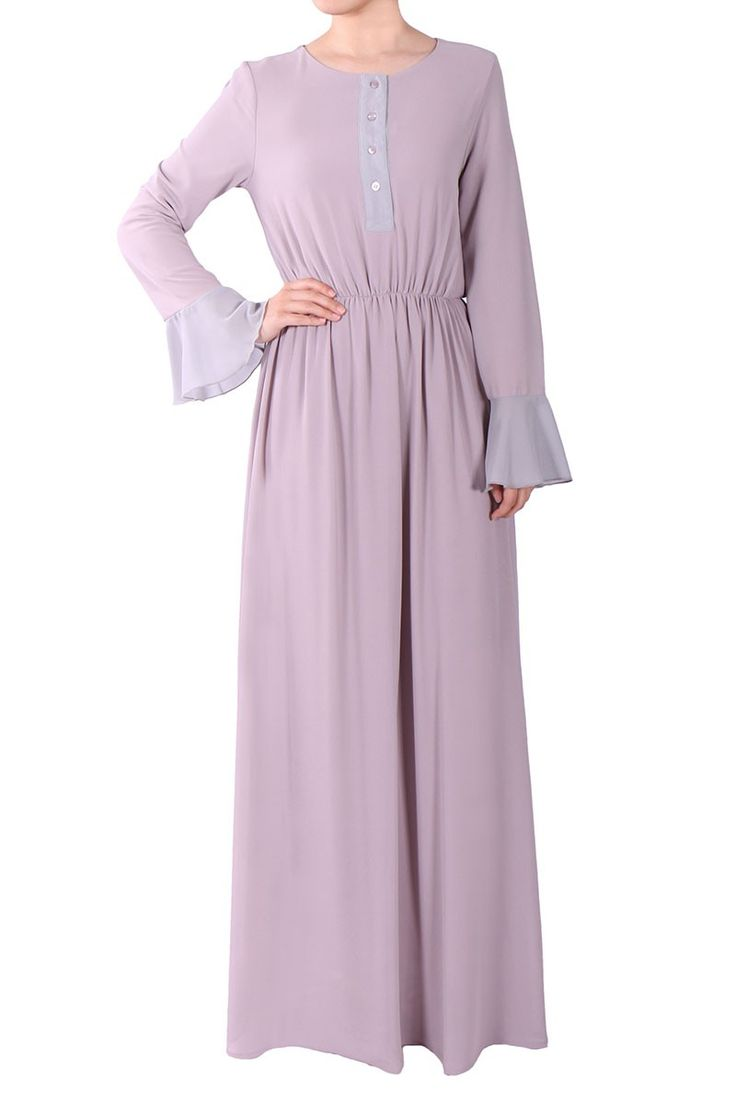 Queenie Front Button Chiffon Maxi Dress - Light Grey/Dusty Mint