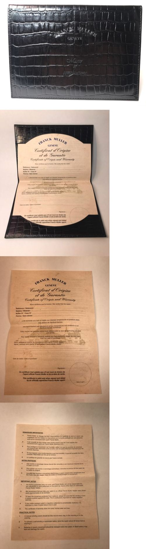 Manuals and Guides 93720: Franck Muller Crazy Hours Certificate Of Origin And Warranty -> BUY IT NOW ONLY: $350.99 on eBay!