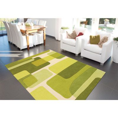 Retro Line Spirit Green Rug | Wayfair UK