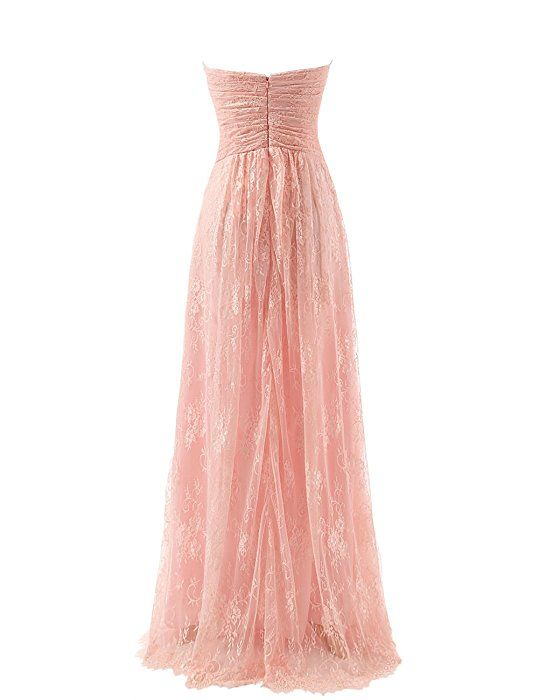 MACloth Women's Strapless Long Lace Chiffon Prom Dress Formal Party Ball Gown (EU46, Champagne)