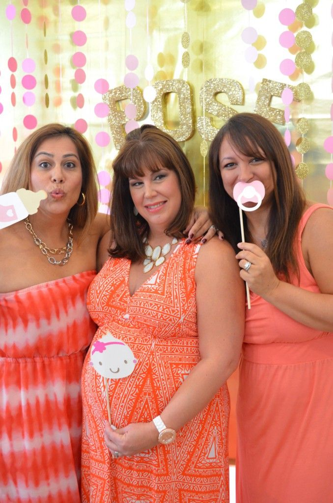 Photo booth props for baby shower DIY pink & gold photo backdrop // MyMommaToldMe.com