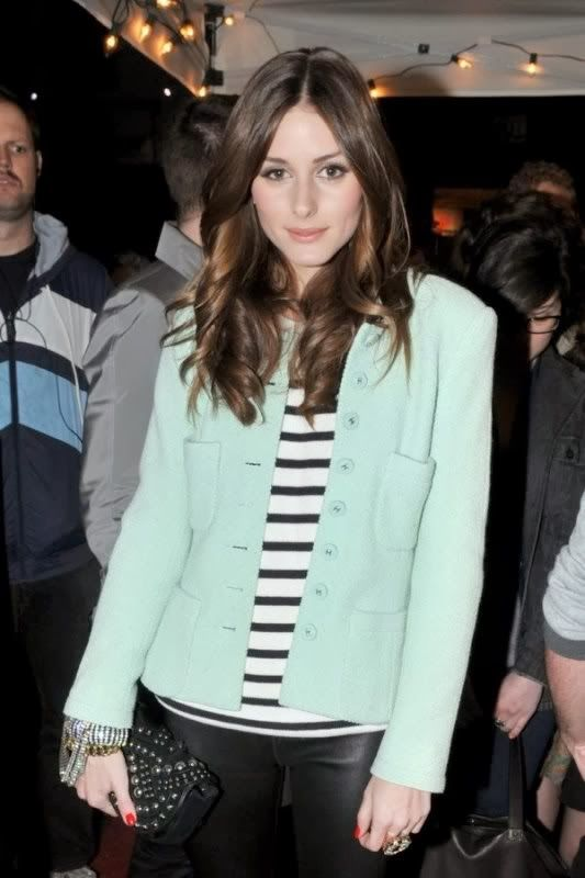 Olivia Palermo in a Mint Jacket with Black and White Stripes