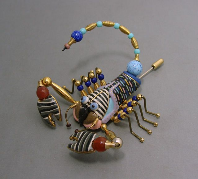 Cynthia Chuang Jewelry 10 Huge Scorpion Stick Pin Brooch Ceramic & Glass Beads