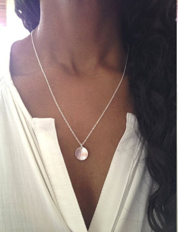 Silver Disc Necklace/ Silver Chain Necklace/ by AVBohoJewellery