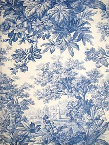 "Schumacher Fabric La Campagne Delft:Schumacher fabric traditional toile fabric. 100% fine pima cotton. 22"" up the roll repeat. 54"" wide"