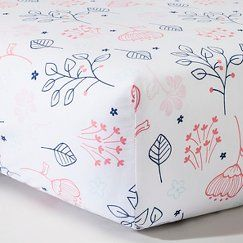 Woven Fitted Crib Sheet - Navy n' Pink Flowers - Circo™                                                                                                                                                                                 More