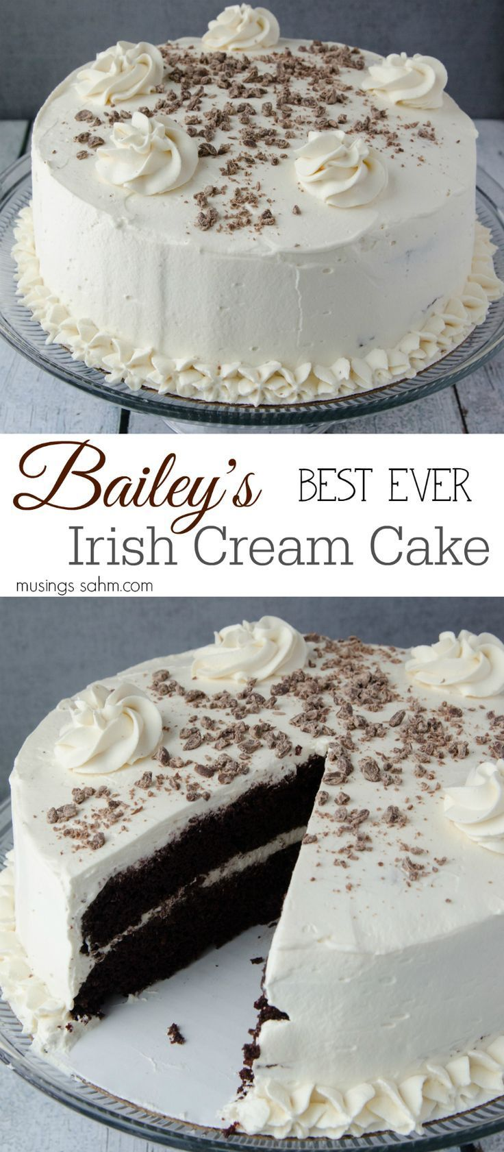 Bailey's Irish Cream Cake - The moist chocolate cake and flavorful real whipped cream frosting are so light, you'll have a hard time saying no to a second piece of this delicious chocolate cake! And of course, it includes real Bailey's Irish Cream, which