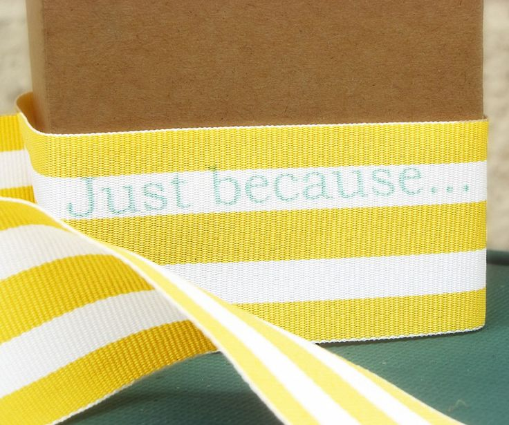 Print on ribbon! Print out a copy of the words you would like to appear on the ribbon to check for spacing. Cut your ribbon to size and double tape the ends onto your printed paper, be sure to cover the words exactly, text will print on the ribbon exactly where your words are placed. Run the paper with ribbon attached through the printer on the heavy paper setting.