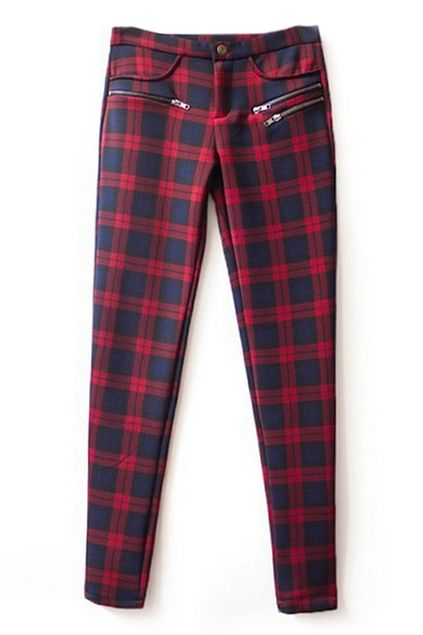 ROMWE   ROMWE Check Print Zippered Red Slim Pants, The Latest Street Fashion