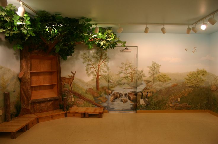 Children's library with hand painted mural and Tree ...