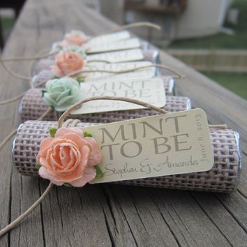 """Bridal shower wedding favor - """"Mint to be"""" favors with personalized tag"""