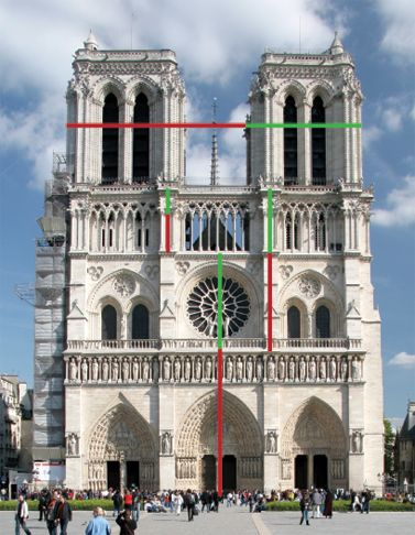 Notre dame de Paris, showing how the Golden Mean determined the varying  heights of the