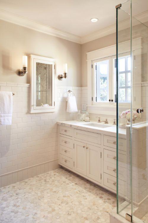 Calacatta Marble Hexagon Floor in Master Bath by ScavulloDesign #marble
