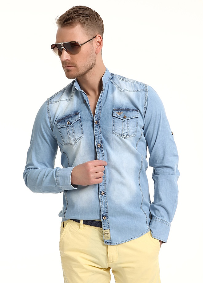 Sateen Men Hakim yaka kot gömlek Markafonide 109,90 TL yerine 54,99 TL! Satın almak için: http://www.markafoni.com/product/3797839/