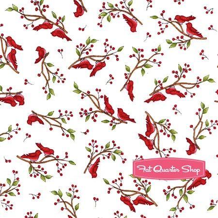 Frolic in the Snow Flannel White Holly Birds Yardage <br/>SKU# MASF8703-W