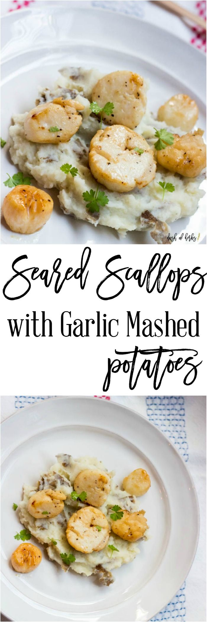 Seared Scallops with Garlic Mashed Potatoes - A delicious decadent recipe that is easy to make and only 9 SmartPoints per serving on Weight Watchers.  Seafood is delicious and healthy!