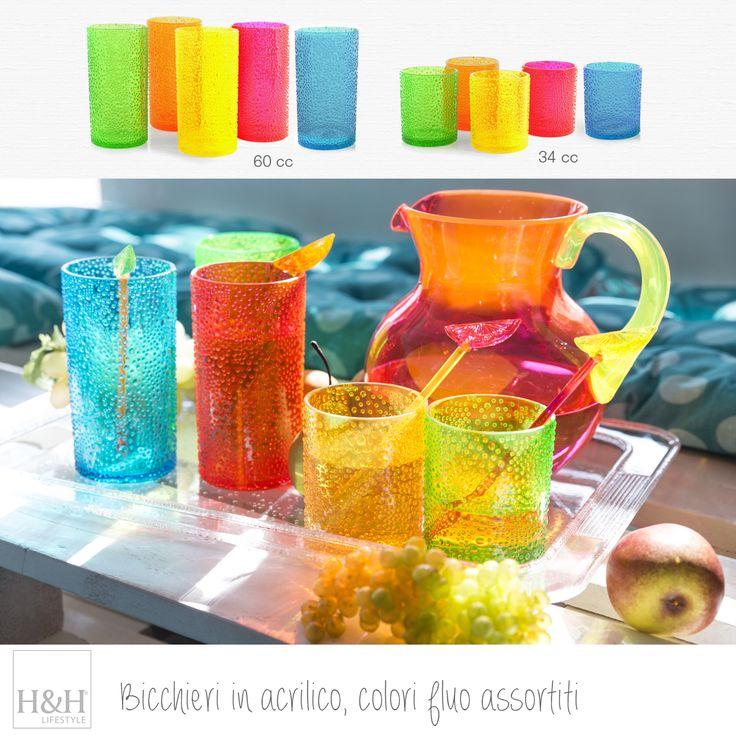 Bicchieri in acrilico, colori fluo assortiti, perfetti a bordo piscina!