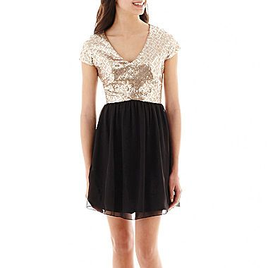 Jcp by amp by cap sleeve sequin and chiffon dresscap sleeve