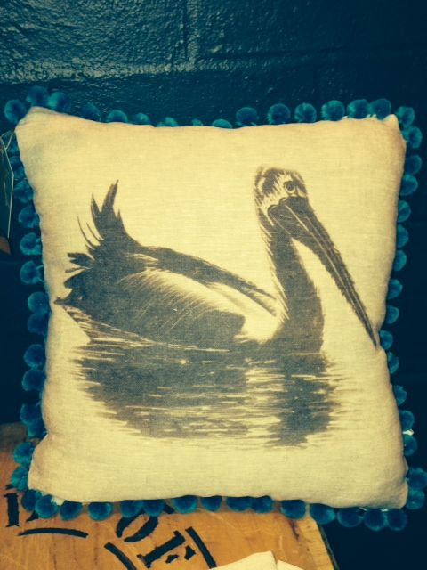 Original Pelican Hand dyed onto linen - Vintage Coast Interiors